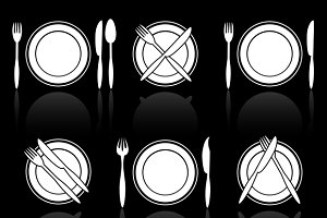 Fork, knife and spoon icons