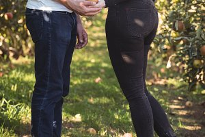 Couple holding apple in apple orchard