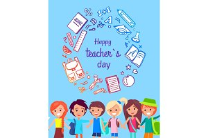 Happy Teacher's Day Poster Vector Illustration