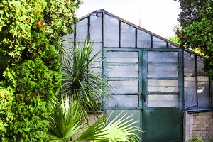 a greenhouse for growing plants in a botanical garden