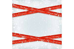 Merry Christmas red banners on winter background.