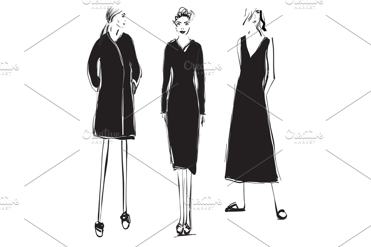 3bd40c350a0 Fashion Design Sketches Of Dresses Black And White