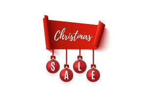Christmas Sale banner isolated on white.