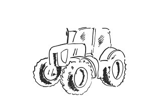 Village land agrimotor utility model. Freehand linear ink hand drawn icon picture sketchy in art doodle style. Tractor
