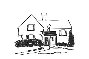 House in a village surrounded by trees, Hand drawn illustration vector sketch
