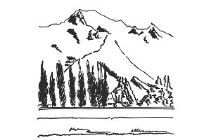 Hand Drawn black and white mountain landscape vector illustration with trees and mountains. Sketch