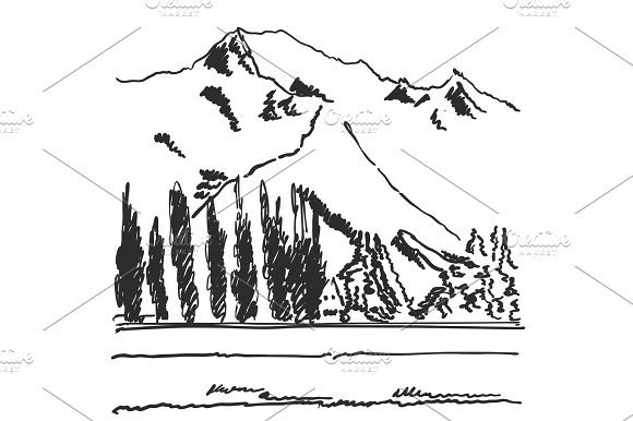 Hand Drawn Black And White Mountain Landscape Vector Illustration With Trees And Mountains Sketch