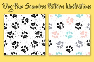 Dog Paw Seamless Patterns