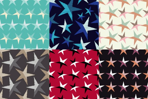6 Seamless Decorative Stars