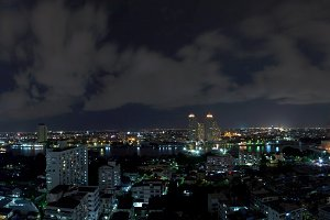 panorama bangkok city at night.