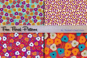 Four Floral Patterns & Swatches