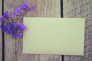 An envelope on old wooden table