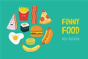 Set with funny food