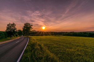 Road towards sunset/sundawn