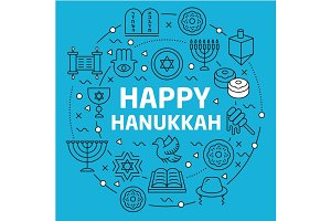 Lines Background illustration happy hanukkah