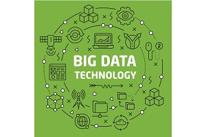 Lines Background illustration big data technology