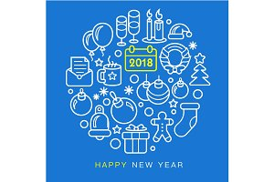 Circle lines illustration new year christmas 2018
