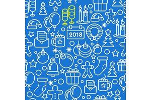 Seamless new year christmas pattern 2018