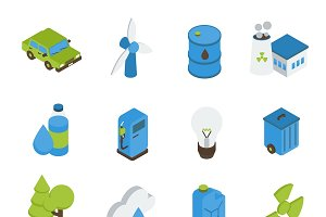 Ecology Isometric Icons Set