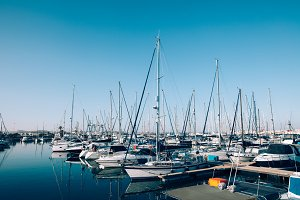 Sailboats and yachts in in harbor