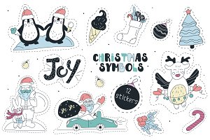 Cute christmas stikers and pattern