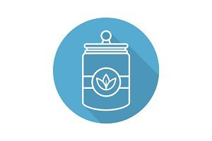Tea and herbs jar flat linear long shadow icon