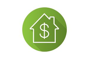 Property purchase flat linear long shadow icon