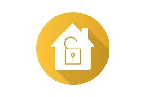 Unlocked house flat design long shadow glyph icon