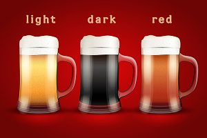 Vector Poster of Beer mugs