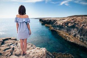 woman enjoying beautiful sea. Cyprus