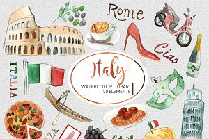 Watercolor Italy Travel Clipart Set