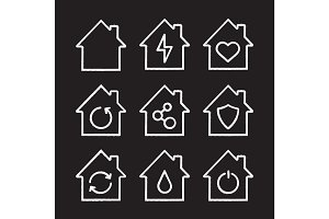 Houses chalk icons set