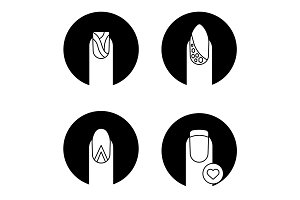 Manicure types glyph icons set