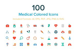 100 Medical Colored Icons