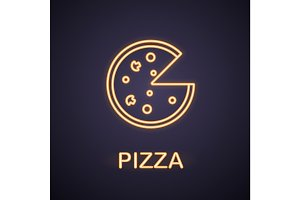 Pizza neon light icon