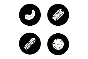 Nuts types glyph icons set