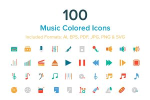 100 Music Colored Icons