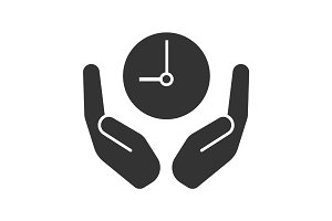 Open palms with clock glyph icon