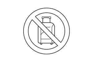 Forbidden sign with luggage linear icon
