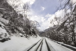 WInter road in movement