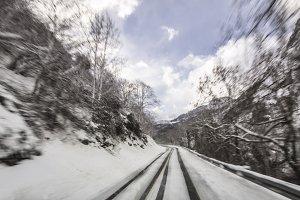 WInter road in movement
