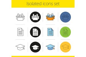 High education icons set