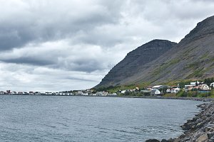 beautiful cloudy view on the fjord in Iceland