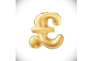 vector Gold pound sterling balloons