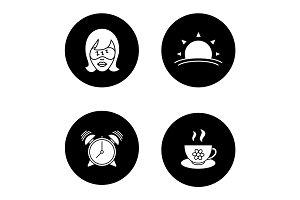Morning glyph icons set