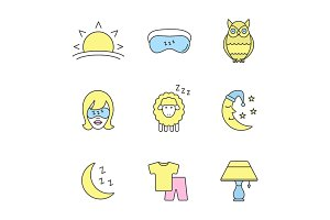 Sleeping accessories color icons set