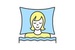 Woman sleeping in bed color icon