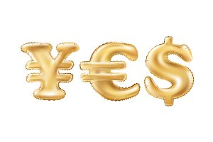 vector Gold yes dollar euro yen