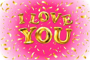 Gold letter i love you balloons