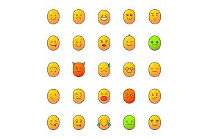 Smiles color icons set